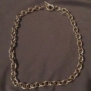 Silver toned choker necklace